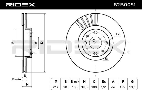 82B0051 Bremsscheiben RIDEX 82B0051 - Große Auswahl - stark reduziert