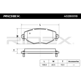 402B0018 Bremsbeläge RIDEX 402B0018 - Große Auswahl - stark reduziert