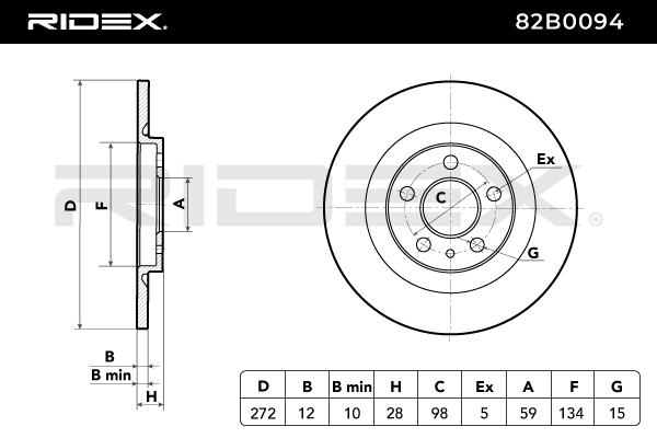 82B0094 Disques de frein RIDEX 82B0094 - Enorme sélection — fortement réduit