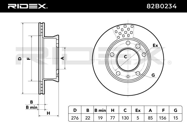 82B0234 Bromsskiva RIDEX originalkvalite