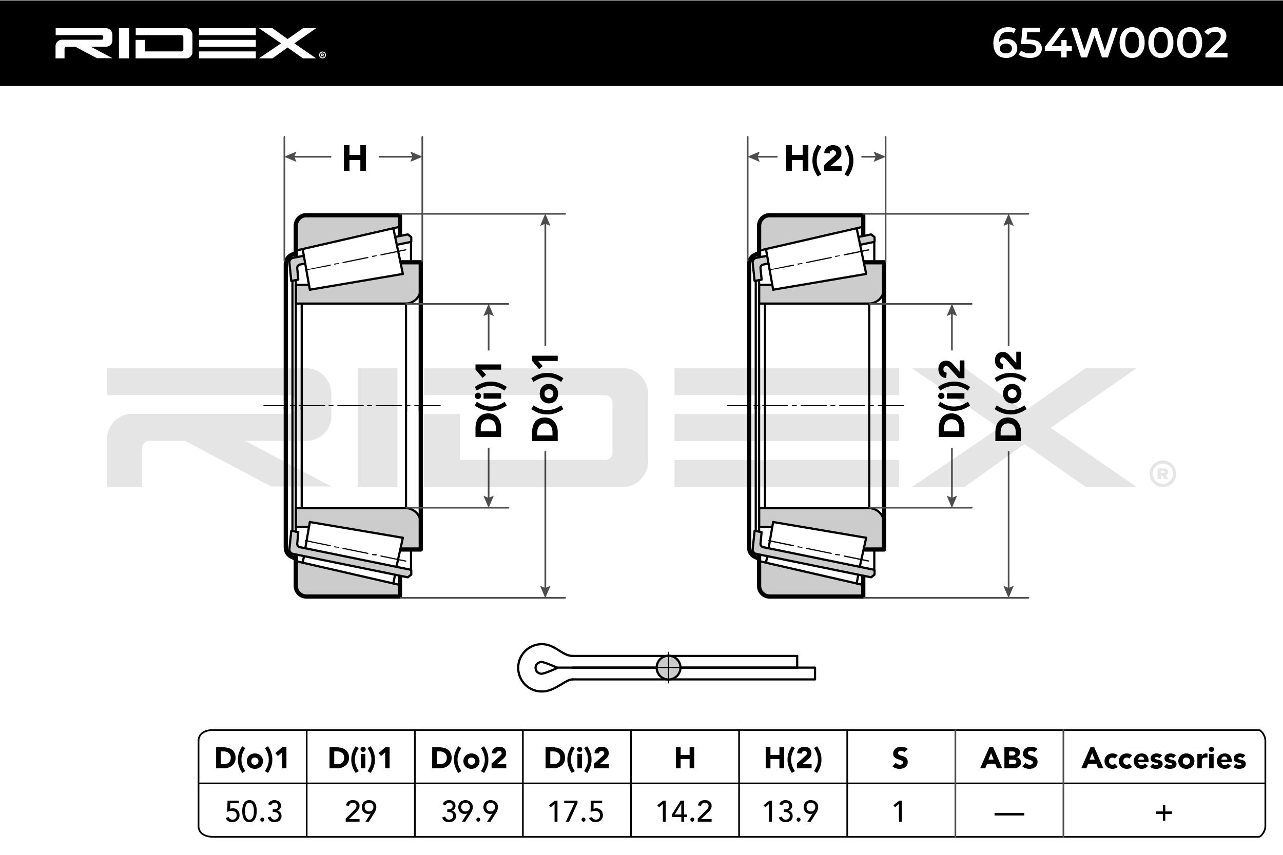 654W0002 Radlager & Radlagersatz RIDEX - Markenprodukte billig
