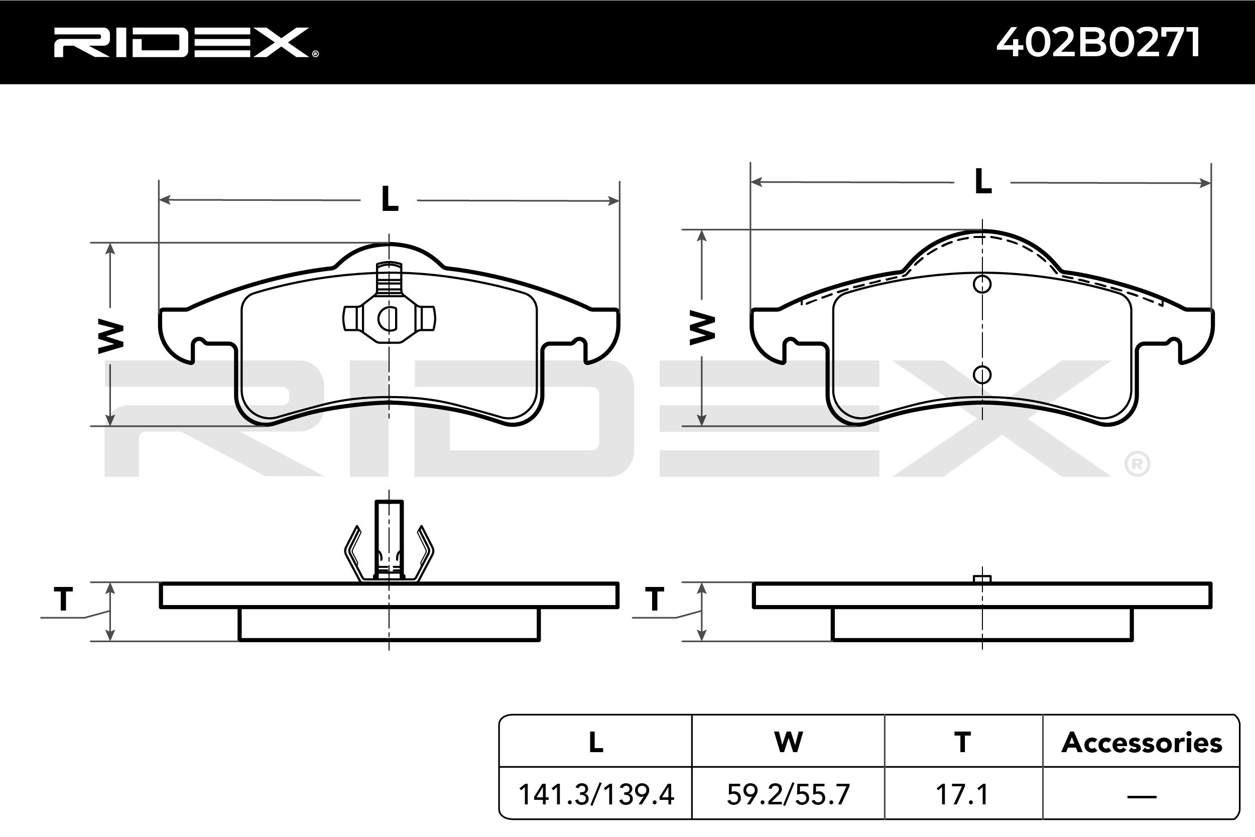 402B0271 Bremsbeläge RIDEX 402B0271 - Große Auswahl - stark reduziert