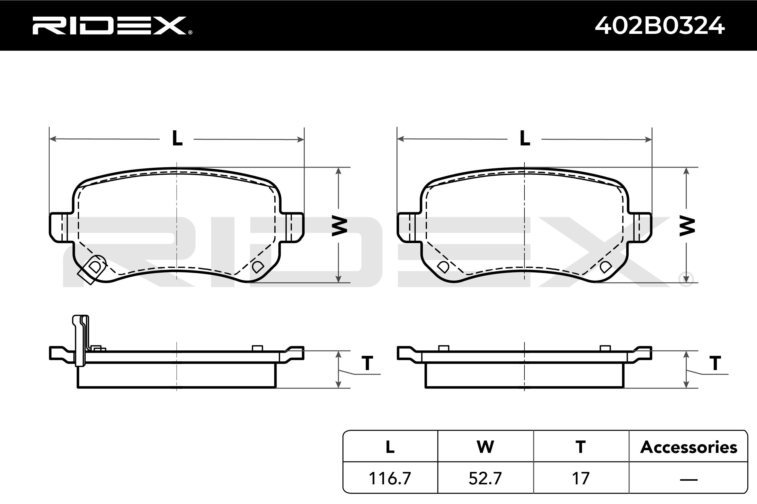 402B0324 Bremsbeläge RIDEX 402B0324 - Große Auswahl - stark reduziert