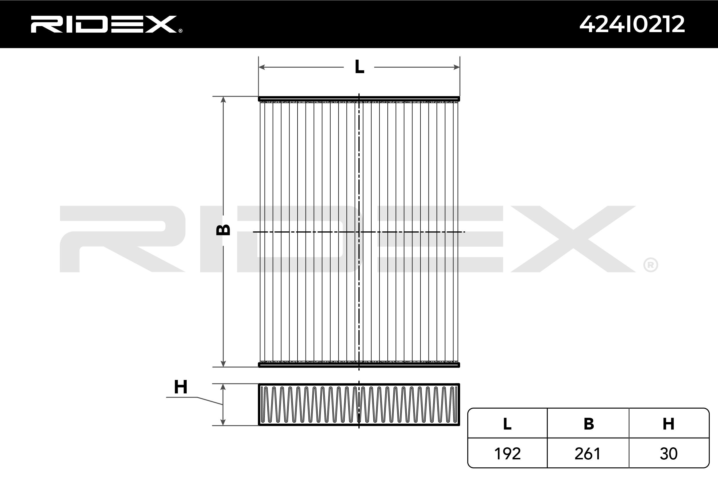 NISSAN TRADE 1998 Klimafilter - Original RIDEX 424I0212 Breite: 261mm, Höhe: 30mm, Länge: 192mm