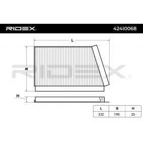 Compre e substitua Filtro, ar do habitáculo RIDEX 424I0068