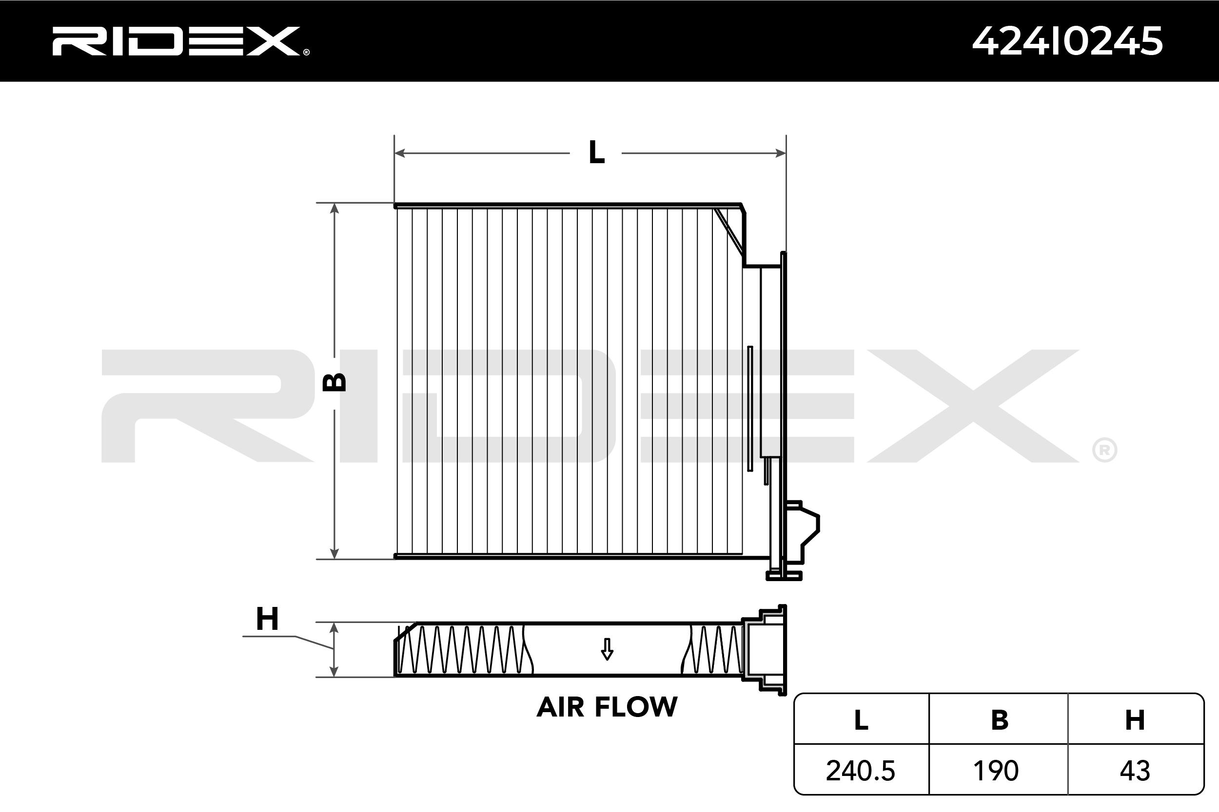 Achat de 424I0245 RIDEX Cartouche filtrante, Filtre à particules Largeur: 190.0mm, Hauteur: 43.0mm Filtre, air de l'habitacle 424I0245 pas chères