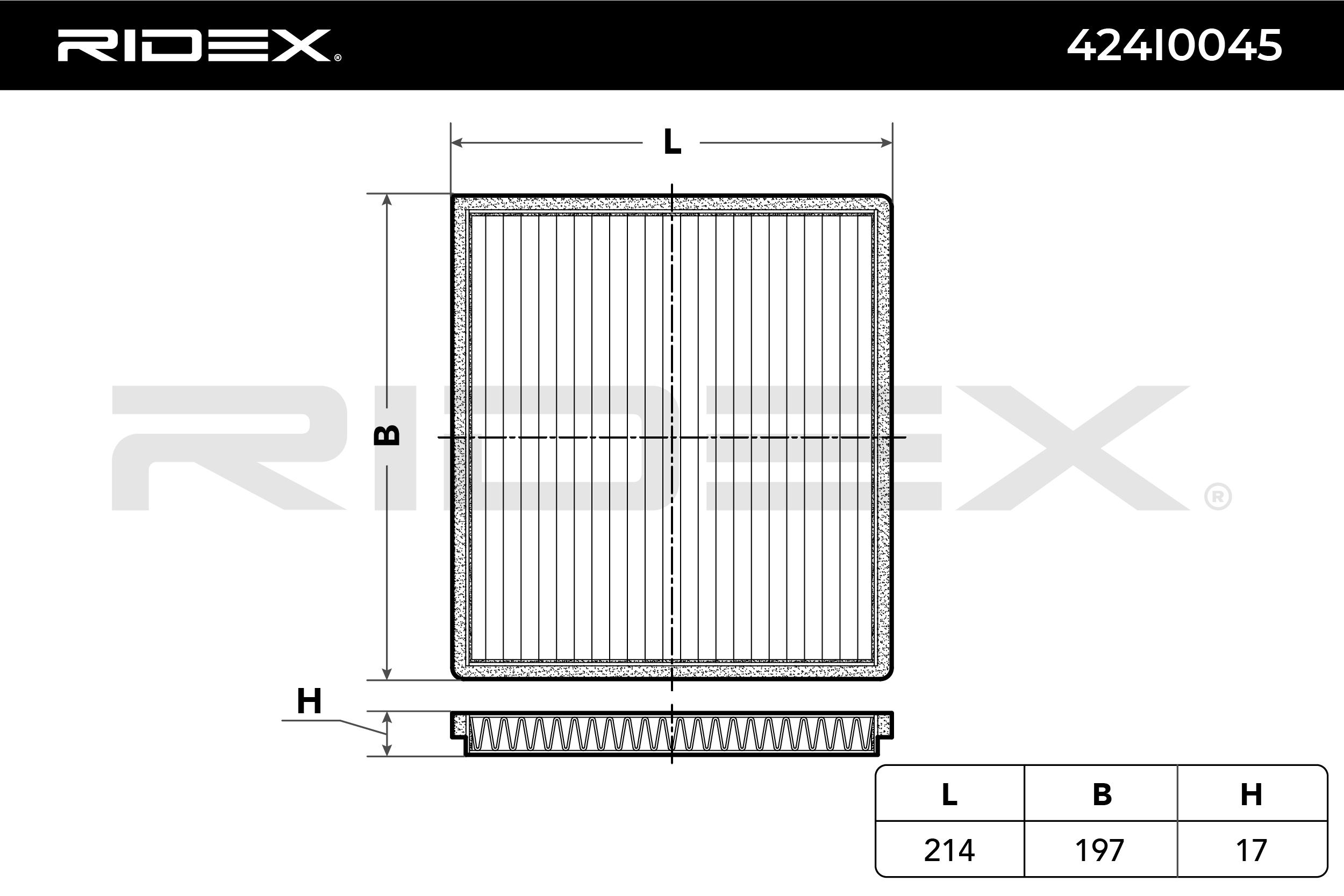 RIDEX: Original Klimafilter 424I0045 (Breite: 214mm, Höhe: 17mm, Länge: 197mm)