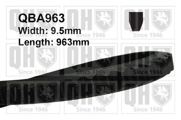 Volkswagen 411/412 1973 Belts, chains, rollers QUINTON HAZELL QBA963: Width: 10mm, Length: 963mm