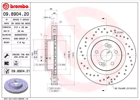 09890421 Disques de frein BREMBO 09.8904.21 - Enorme sélection — fortement réduit
