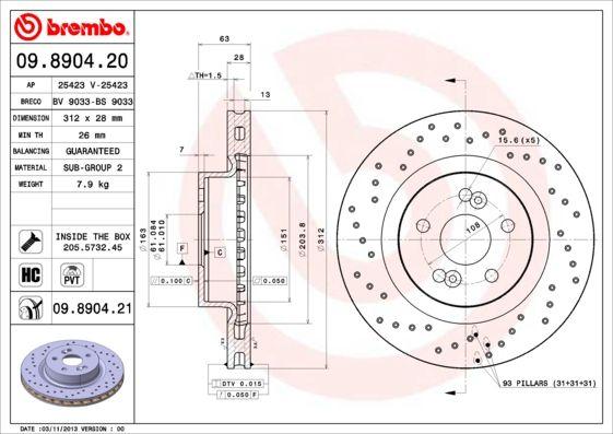 09.8904.21 Disques de frein BREMBO originales de qualité