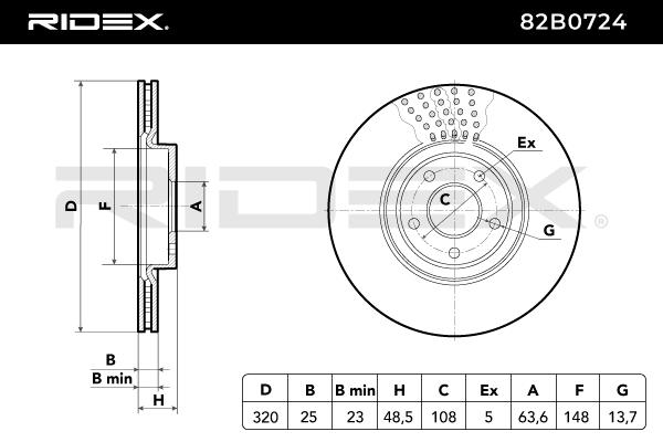82B0724 Bremsscheiben RIDEX 82B0724 - Große Auswahl - stark reduziert