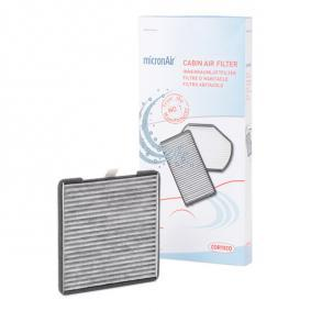 80004405 CORTECO Aktivkohlefilter Breite: 187mm, Höhe: 12mm, Länge: 201mm Filter, Innenraumluft 80004405 günstig kaufen