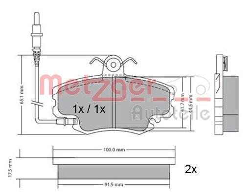 21463 METZGER Vorderachse, mit integriertem Verschleißsensor, mit Bremssattelschrauben, mit Anti-Quietsch-Blech Höhe: 64mm, Breite: 99,9mm, Dicke/Stärke: 18mm Bremsbelagsatz, Scheibenbremse 1170009 günstig kaufen