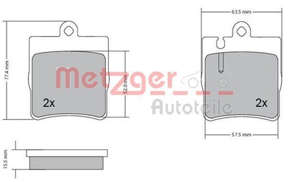21898 METZGER Hinterachse, exkl. Verschleißwarnkontakt, mit Anti-Quietsch-Blech Höhe: 78,2mm, Breite: 62mm, Dicke/Stärke: 15,5mm Bremsbelagsatz, Scheibenbremse 1170064 günstig kaufen
