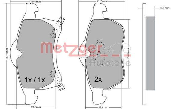 Bremsbelagsatz METZGER 1170091