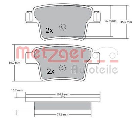 Bremsbelagsatz METZGER 1170092