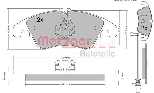 METZGER Bremsbeläge Bremsbelagsatz Bremsklötze Vorne 1170125