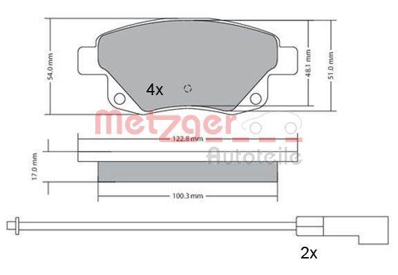 Bremsbelagsatz METZGER 1170138