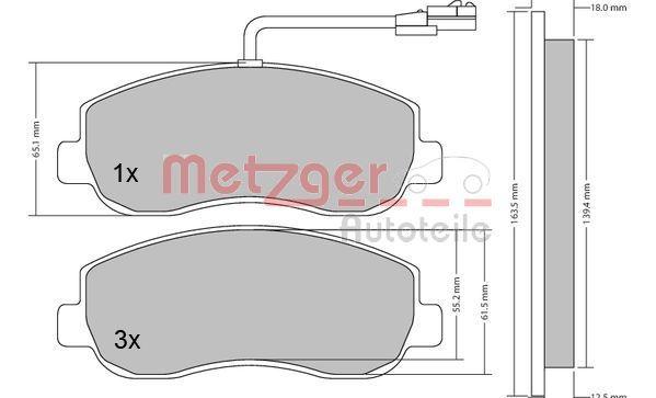 Bremsbelagsatz METZGER 1170148