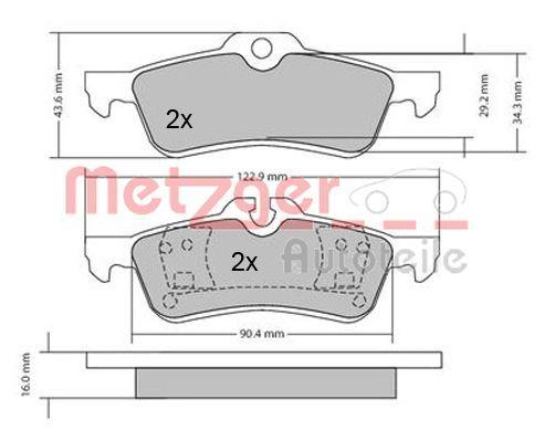 Bremsbelagsatz Scheibenbremse METZGER 1170154