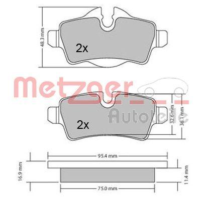 Bremsbelagsatz METZGER 1170201