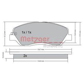 24353 METZGER Vorderachse, mit akustischer Verschleißwarnung, mit Anti-Quietsch-Blech Höhe: 61,2mm, Dicke/Stärke 1: 16,8mm, Dicke/Stärke 2: 17,3mm Bremsbelagsatz, Scheibenbremse 1170205 günstig kaufen