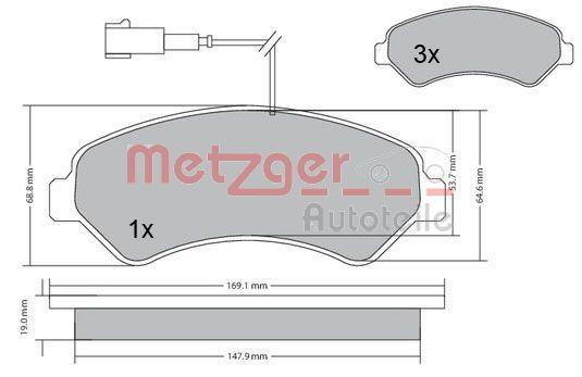 24467 METZGER Vorderachse, mit integriertem Verschleißsensor, mit Anti-Quietsch-Blech, mit Bremssattelschrauben, mit Zubehör Höhe: 69,5mm, Breite: 169mm, Dicke/Stärke: 19mm Bremsbelagsatz, Scheibenbremse 1170248 günstig kaufen