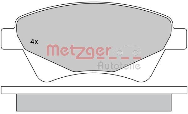 097610 METZGER Vorderachse, exkl. Verschleißwarnkontakt, mit Anti-Quietsch-Blech, mit Bremssattelschrauben Höhe: 59,5mm, Breite: 136,8mm, Dicke/Stärke: 18mm Bremsbelagsatz, Scheibenbremse 1170255 günstig kaufen