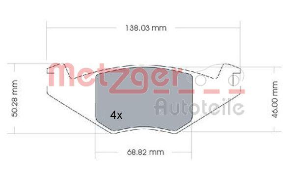 20889 METZGER Vorderachse, exkl. Verschleißwarnkontakt, mit Zubehör Höhe: 51mm, Breite: 137,7mm, Dicke/Stärke: 17,3mm Bremsbelagsatz, Scheibenbremse 1170257 günstig kaufen