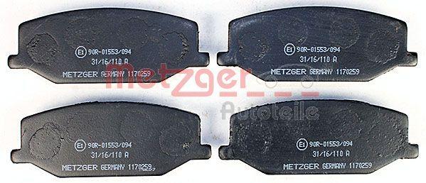 METZGER   Bremsbelagsatz, Scheibenbremse 1170259