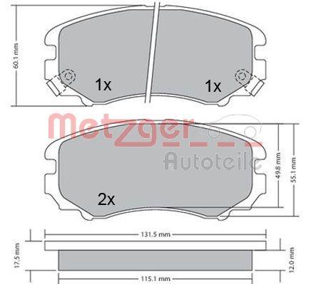 095312 METZGER Vorderachse, mit akustischer Verschleißwarnung, mit Anti-Quietsch-Blech Höhe: 60mm, Breite: 131,3mm, Dicke/Stärke: 17,3mm Bremsbelagsatz, Scheibenbremse 1170262 günstig kaufen