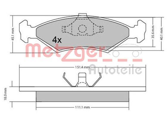 Bremsbelagsatz Scheibenbremse METZGER 1170426