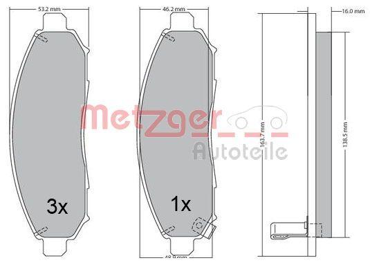 Bremsbelagsatz METZGER 1170541