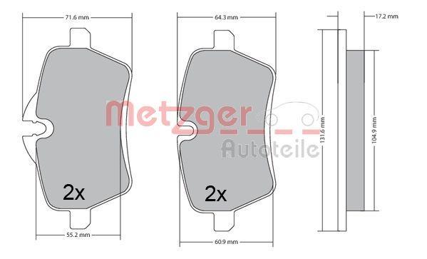 Bremsbelagsatz METZGER 1170561
