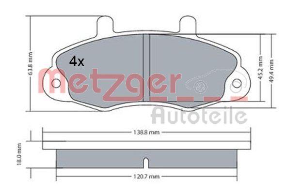 Bremsbelagsatz Scheibenbremse METZGER 1170604