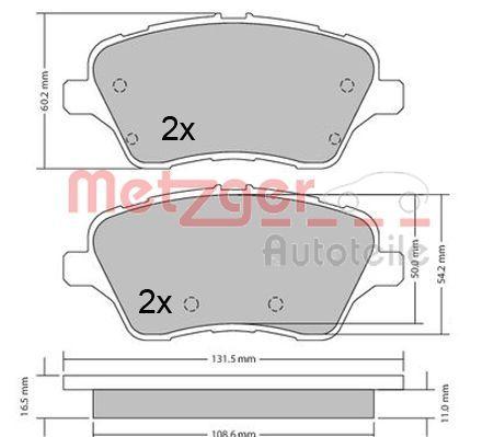 Bremsbelagsatz METZGER 1170640