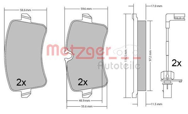 Bremsbelagsatz Scheibenbremse METZGER 1170688