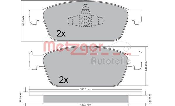 Bremsbelagsatz METZGER 1170689