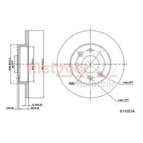 6110034 METZGER Voll, beschichtet, mit Sicherungsschraubensatz Ø: 237,8mm, Lochanzahl: 4, Bremsscheibendicke: 12mm Bremsscheibe 6110034 günstig kaufen