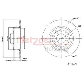6110036 METZGER Voll, beschichtet, mit Sicherungsschraubensatz Ø: 252,9mm, Lochanzahl: 5, Bremsscheibendicke: 10mm Bremsscheibe 6110036 günstig kaufen