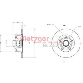6110043 METZGER COATED Voll, beschichtet, ohne ABS-Sensorring Ø: 245,0mm, Lochanzahl: 5, Bremsscheibendicke: 10mm Bremsscheibe 6110043 günstig kaufen