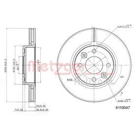 6110047 METZGER COATED Innenbelüftet, beschichtet, mit Sicherungsschraubensatz Ø: 259,5mm, Lochanzahl: 4, Bremsscheibendicke: 22mm Bremsscheibe 6110047 günstig kaufen