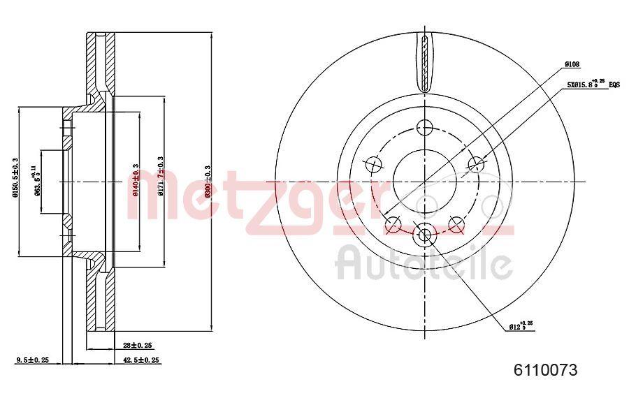 VOLVO XC70 2010 Bremsscheibe - Original METZGER 6110073 Ø: 300mm, Lochanzahl: 5, Bremsscheibendicke: 28mm