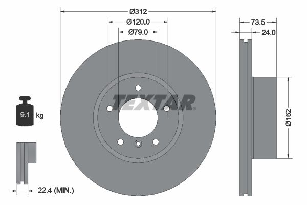 TEXTAR Brake Disc 92176105