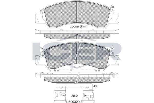 D13638472 ICER inkl. Verschleißwarnkontakt, Achsausf.: Front Höhe 2: 63,6mm, Höhe: 59,5mm, Breite: 184,1mm, Dicke/Stärke: 18mm Bremsbelagsatz, Scheibenbremse 182137 günstig kaufen