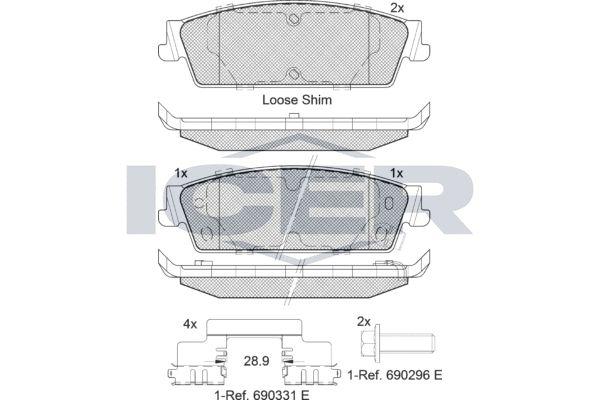 D11948312 ICER inkl. Verschleißwarnkontakt, Achsausf.: Rear Höhe: 45,6mm, Breite: 142,3mm, Dicke/Stärke: 16,9mm Bremsbelagsatz, Scheibenbremse 182139 günstig kaufen
