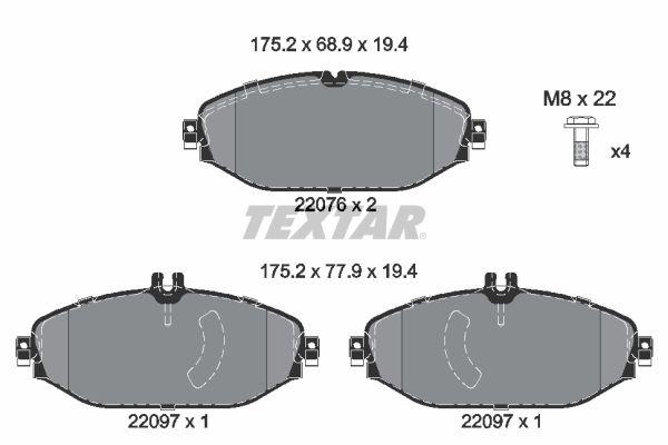 2207619415 TEXTAR für Verschleißwarnanzeiger vorbereitet, mit Bremssattelschrauben Höhe 1: 68,9mm, Höhe 2: 68,9mm, Breite: 175,2mm, Dicke/Stärke: 19,4mm Bremsbelagsatz, Scheibenbremse 2207601 günstig kaufen