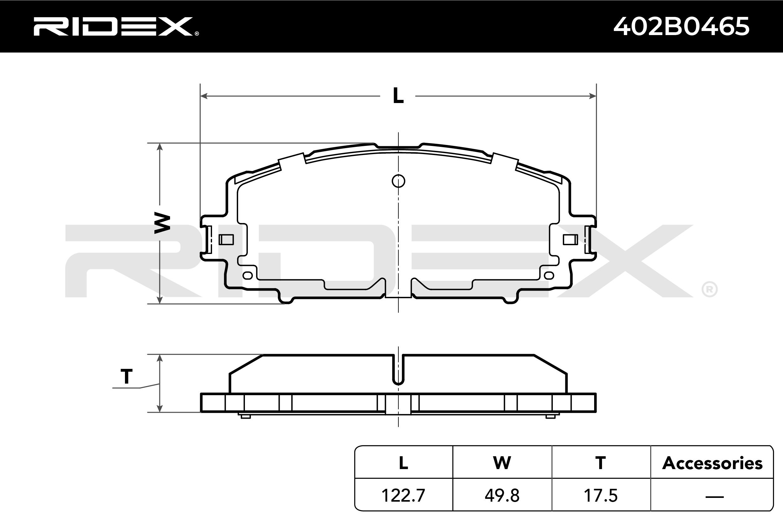 402B0465 Bremsbeläge RIDEX 402B0465 - Große Auswahl - stark reduziert