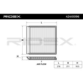 szűrő, utastér levegő RIDEX 424I0096 - vásároljon és cserélje ki!