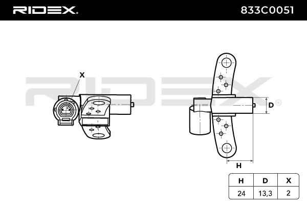 Origine Capteur point mort haut RIDEX 833C0051 (Nombres de pôles: 2pôle)